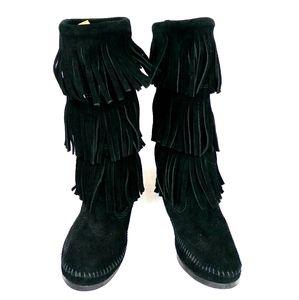 Minnetonka fringe black  boots